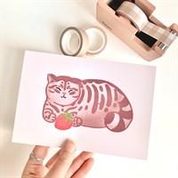 Chubby Cat And Strawberry Art Print