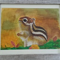 Chunky Chipmunk Watercolour Painting