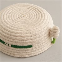 Upside-down cotton rope bowl with green trim showing the bottom gallery shot 14