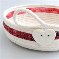 Cotton rope bowl with red fabric trim