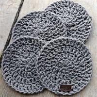 Crochet coaster set of 4 - Dark grey