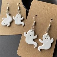 Cute Ghost Earrings, Halloween Dangles