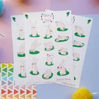 Cute pastel pink rabbit sticker sheet