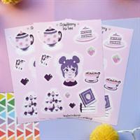 Cute strawberry tea time sticker sheet