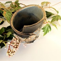 Dartmoor series small stoneware vase #2, from above