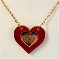 Deco engraved mirror heart necklace