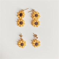 Double Sunflower Dangle Earrings
