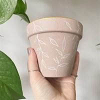 Dusty Pink Leaf Terracotta Plant Pot