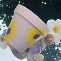 Dusty Pink Sunflower Plant Pot gallery shot 4