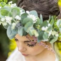 Eucalyptus Faux Flower Bridal Crown details gallery shot 5