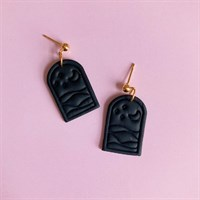 Everyday Black Imprinted Dangle Earrings