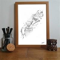 Fierce Tiger Pointillism Art Print