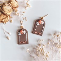 Floral Neutral Arch Dangle Earrings