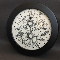 Framed duel flower hand embroidery