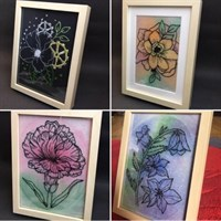 Framed embroidery watercolour flowers