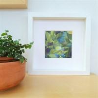 Framed woven paper art 'Spring Green'