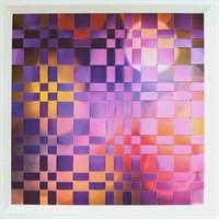 Framed woven paper artwork 'Beyond' close up