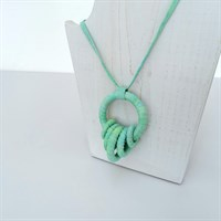 Fresh green fabric necklace on display stand gallery shot 15