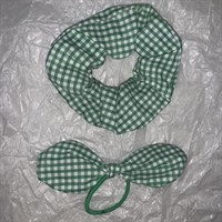Green Gingham School Scrunchy and Bow