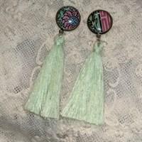 Green tassel dangly earrings gallery shot 12