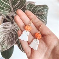 Halloween Ghost And Pumpkin Earrings size comparison