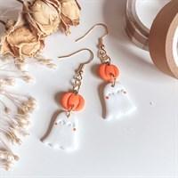 Halloween Ghost And Pumpkin Earrings