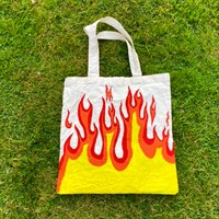 Hand Painted Flame 100% Cotton Tote Bag