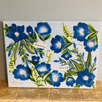 Hand-Painted One Stroke Canvas - Floral & Foliage Design