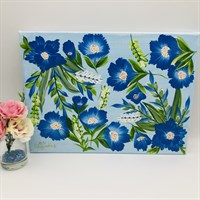 Hand-Painted One Stroke Painting on Canvas - Blue & White Floral Design