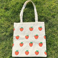 Hand Painted Peachy Cotton Tote Bag