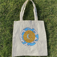 Hand Painted Sun & Moon Cotton Tote Bag