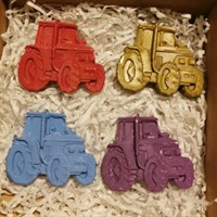Hand poured Tractor shaped crayons