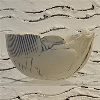 Handmade blue bowl with crackled glaze