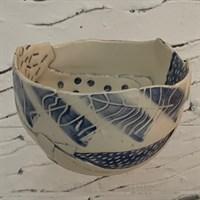 Handmade ceramic blue bowl side 1