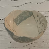 Handmade ceramic bowl - green and white
