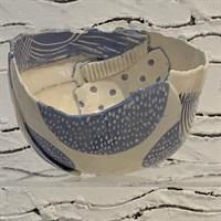 Handmade ceramic bowl blue and white