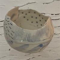 Handmade ceramic bowl crackled glaze