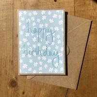 Handmade daisy print birthday card