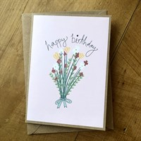Handmade floral bouquet birthday card