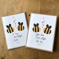 Handmade I love you bee card