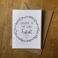 Handmade new baby greetings card