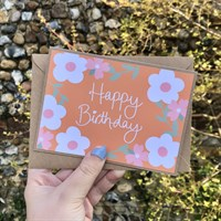 Handmade Retro Floral Birthday Card