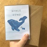 Handmade Whale done / Well done card