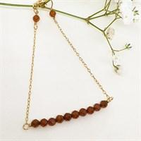 Hessonite garnet bar bracelet