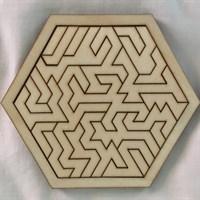 Hexagonal Geometric Wooden Tray Puzzle