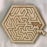 Hexagonal Geometric Wooden Tray Puzzle piece removed