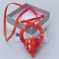 Hot pink and orange fabric necklace