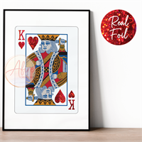 King of Hearts Red Foiled Print