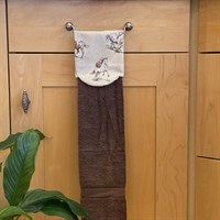 Kitchen Aga/Rail Towel with Horse Print Brown with White Horse