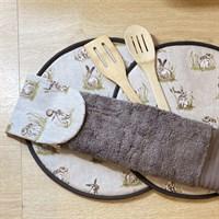 Kitchen Gift Set Rustic Hare Print